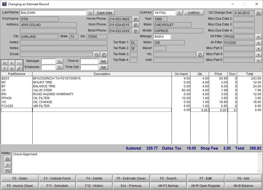 Auto repair software automotive software and tire for Custom home estimate template